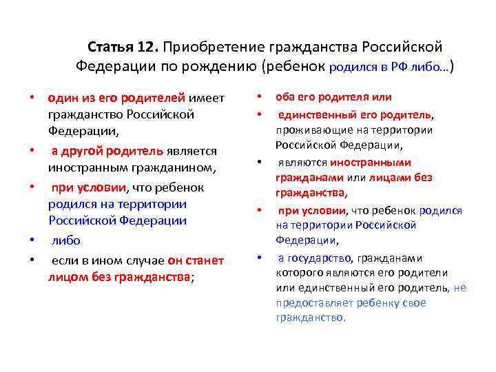 Гражданство РФ на основании рождения
