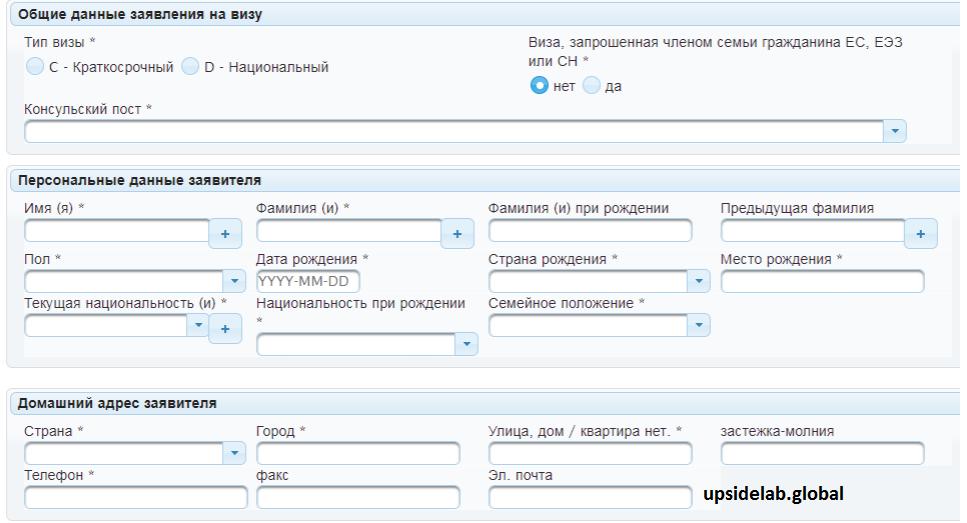 Так выглядит онлайн-заявка на получение визы