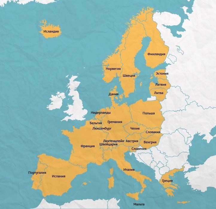 Области Шенгенской зоны