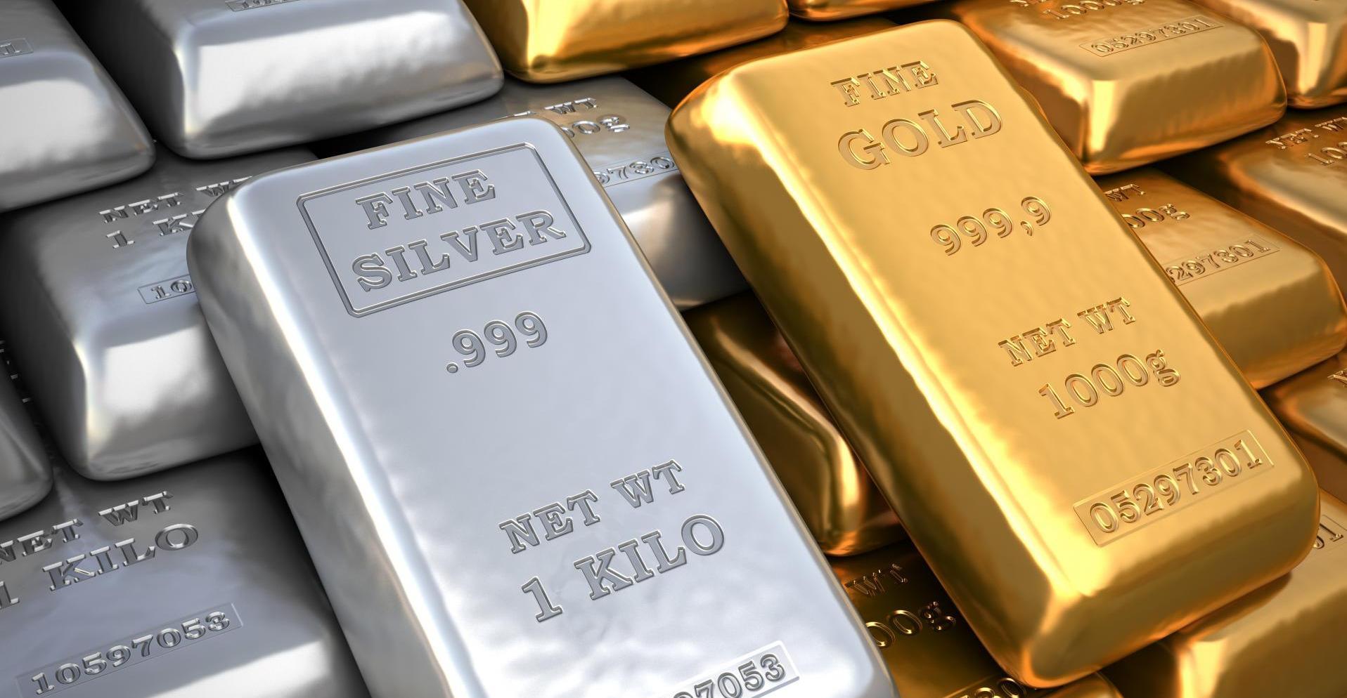 Слитки драгоценного металла - золото и серебро