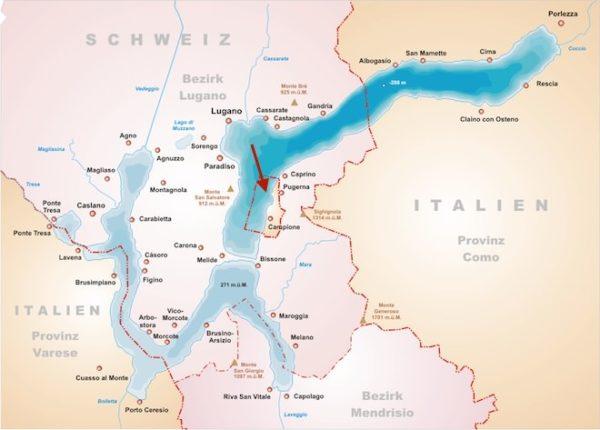 Расположение итальянского города в окружении кантона, где в обращении швейцарский франк