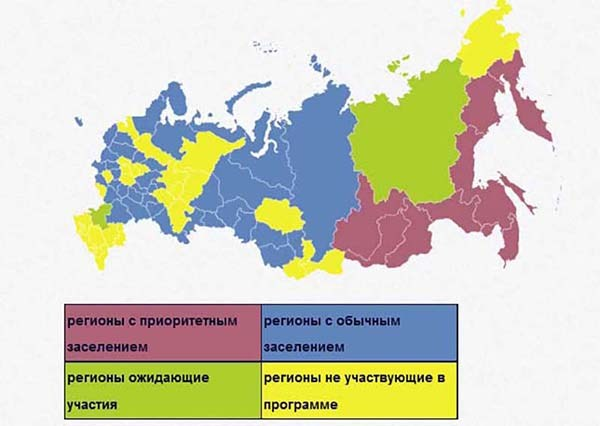 Регионы переселения на условиях государственной программы