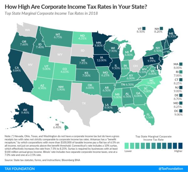 Размер ставок по подоходному налогу в разных штатах Америки