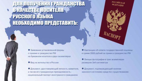 Что необходимо представить носителю русского языка для оформления подданства РФ