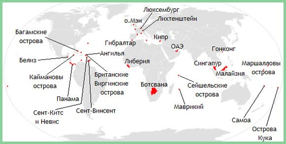 На данный момент насчитываются десятки оффшорных зон, расположенных по всему миру