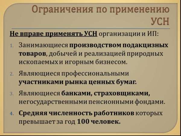 Некоторые категории ИП и организаций, которые «упрощенку» применять не имеют права