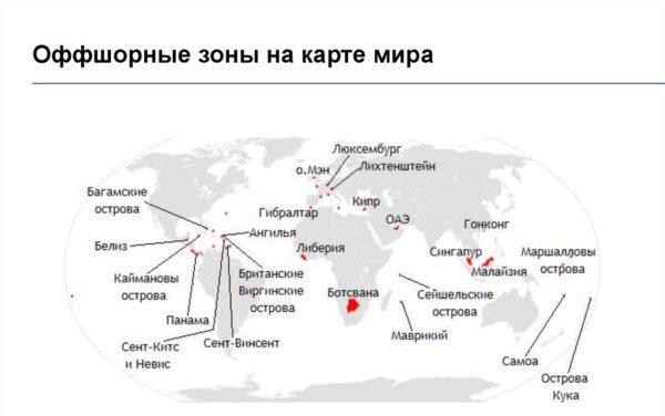 Оффшорные зоны на карте