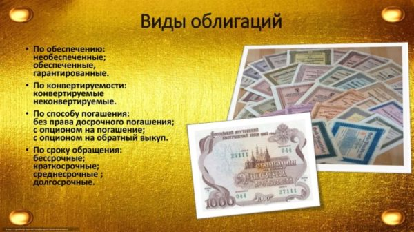 Некоторые виды облигаций